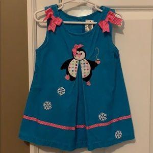 Little girls size 2T penguin corduroy dress
